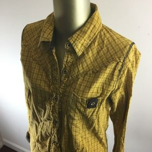 BKE Long Sleeve Mustard Check Button Down Top